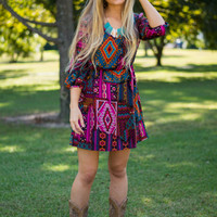 Aztec Empire Dress, Magenta/Blue