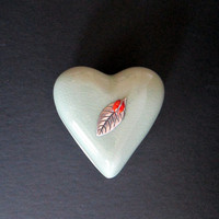 Vintage Siam Celadon Hand Made Stoneware Wood Ash Glaze Heart Trinket Box from Thailand