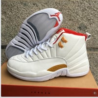 Air Jordan 12 Retro AJ 12 White/Red Men Basketball Shoes