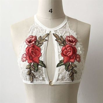 Therese Rose Halter Bralette (White)