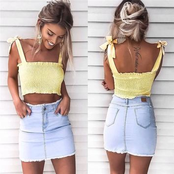 Women Sexy Pink Camisole Crop Top Fashion 2017 Summer Holiday Beach Ladies Elastic Tank Top Tumblr Yellow Strap Vest Femme
