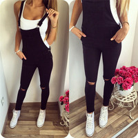 2016 Autumn Womens Denim Overalls Bodysuit Jumpsuits Office Casual Hole Pocket Sleeveless Pencil Pant Rpmpers Jumpsuit Femme