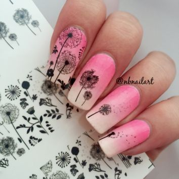 1 Pc BORN PRETTY Flying Dandelion Pretty Flower Sticker Nail Art Water Decals Nail Transfer Stickers BP-W13
