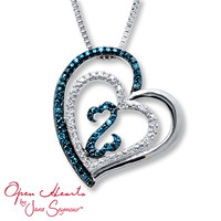Open Hearts Necklace 1/15 ct tw Diamonds Sterling Silver