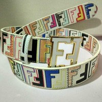 CLASSIC BUCKLE MEN'S AND WOMEN'S LEATHER BELT FENDI