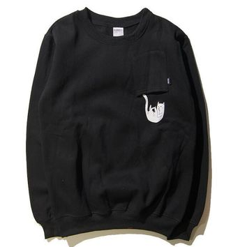 RIPNDIP The middle finger cats Round collar Pullover Hedging Sweater long sleeve sports shirt-1