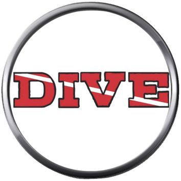 Scuba Dive Diver Down Flag Thru Word Dive 18MM - 20MM Snap Jewelry Charm New Item