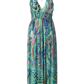 Animal Print Bohemian Halter Backless V-neck Sheath Pleated Maxi Dress