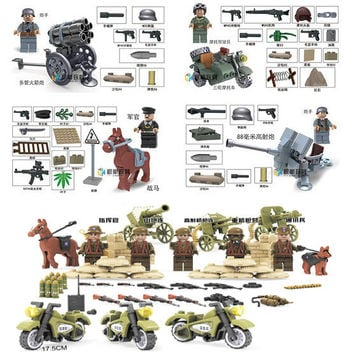 WORLD WAR 2 German Waffen SS Custom Figures Set US Soldiers Battle Soviet Red Army motorcycle military Building Toys