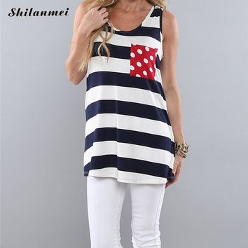 Cashual Summer Women Femme Striped Tank top women Vest Shirt Sleeveless American USA Flag Striped feminino Blusas mujer top 2017