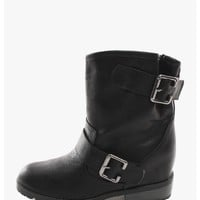 Black Moto Rider Hidden Wedge Boot | $12.50 | Cheap Trendy Boots Chic Discount Fashion for Women |