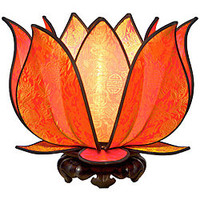 Om Gallery Blooming Citrus Lotus Table Lamp (Vietnam) | Overstock.com
