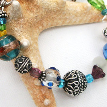 Boho Chic Sterling Silver Bali Beads Czech by daisybethdesigns