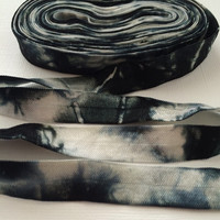 "Black-White Hand Tie Dyed 5/8"" Fold Over Elastic"