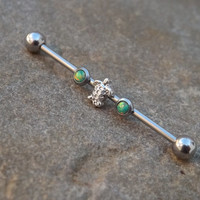 Turtle Green Fire Opal Industrial Barbell 14ga Upper Ear Piercing Body Jewelry