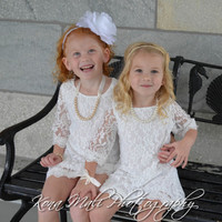 The Autumn - Soft White Flower Girl Lace Dress, Lace Dress  for infants, toddlers & girls sizes, 1T,2T,3T,4T,5T,6,7/8,9/10,11/12,13/14