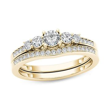 1/2 CT. T.W. Diamond Five Stone Bridal Engagement Ring Set in 14K Gold