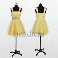 Custom Yellow Beaded Short Prom Dresses Evening Dresses Fashon Party Dresses Bridesmaid Dresses 2014 Homecoming Dress Cocktail Dresses