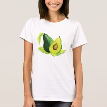 Green Avocado Still Life Fruit in Watercolors T-Shirt