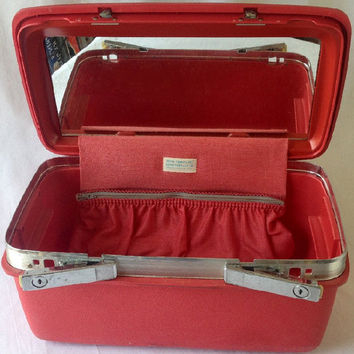 Samsonite Red Train Case Montbello II, Retro Royal Traveller Overnight Luggage, Make Up Suitcase