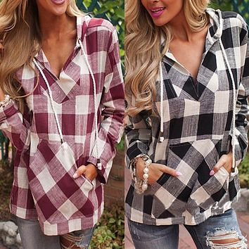 Spring Autumn Women Cotton Long Sleeve Plaid Shirt Hoodie Casual Fit Blouse Sweatshirt New