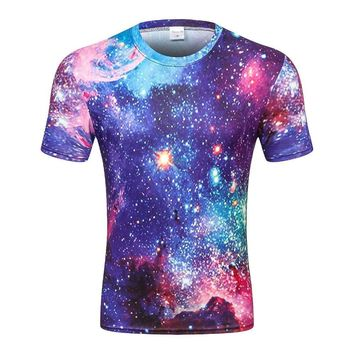 Space Galaxy All Over Print T-Shirts - Men's Crew Neck Novelty Top Tee