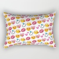 Valentine's Day Emoji Love Rectangular Pillow by Love Lunch Liftoff