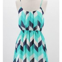 Blue Monochrome Chevron Tank Dress with Cinched Waist