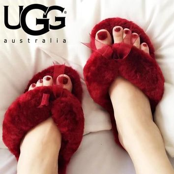 UGG Fashion Women Warm Wool Cute Bowknot Slippers Shoes Flip-Flops Burgundy