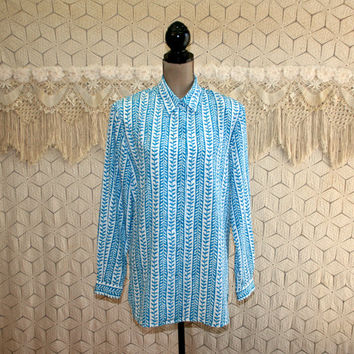80s Long Sleeve Blouse Button Up Shirt Patterned Stripe Tunic Top Loose Fitting White Blue Print Medium Large 1980s Womens Vintage Clothing