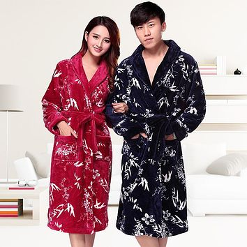 Thickening Lengthen Lovers Flannel Male and female Pajamas Robe Clothes Bathrobe Autumn And Winter Win Coral Down