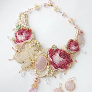 Necklace handmade beaded Set necklace and earrings Embroidery roses flower Embroidered Necklace with roses Jewelry with flower rose beadwork