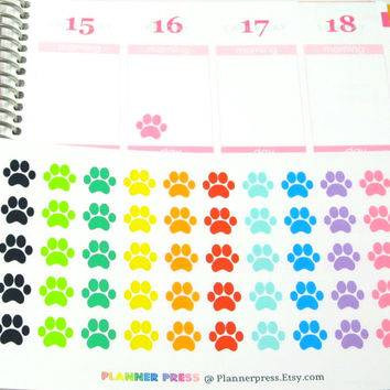 Rainbow Pet Paws Planner Sticker for Erin Condren Life Planner (ECLP) Reminder Sticker 1487