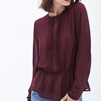 LOVE 21 Sheer Embroidered Peplum Top Wine
