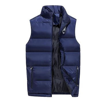 2018 Mens Sleeveless Jacket Cotton New Winter Warm Vest Parka Solid Color Thick Male Casual Vest Coats Jaqueta Masculino Inverno