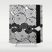 Black and white spirals design Shower Curtain by LoRo  Art & Pictures