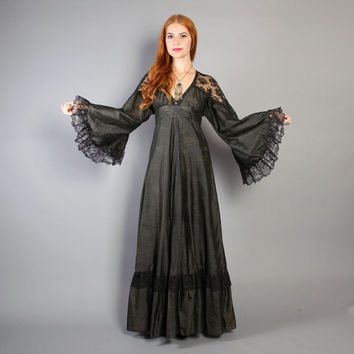 70s WITCHY Black MAXI / Angel Sleeve Floral Lace Trim DRESS, xs-s