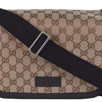 Gucci Gg Guccissima Canvas Large Crossbody 449171 Beige/Brown Messenger Bag