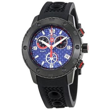 Swiss Military Rallye GMT Blue Dial Mens Silicone Watch 2752