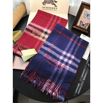 BURBERRY High Quality Stylish Plaid Tassel Cashmere Scarf Shawl Accessories