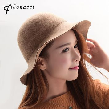 Fibonacci 2018 New Autumn Winter Fashion Simple Bucket Female Fedoras Wool Felt Women Hats Buckle Fedora Hat