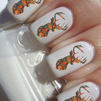 Orange Camo Deer Head Nail Decals