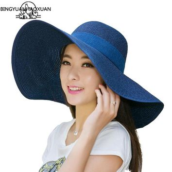 BINGYUANHAOXUAN UV Protect Hat Lady Summer Wide Along Bow Visor Sun Beach Straw Hat Mujer Cap Candy Colored Sun Hats for Women