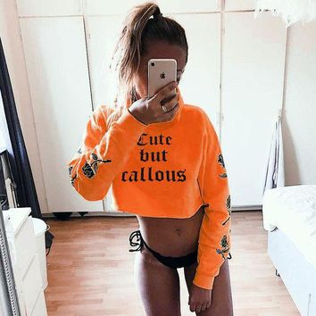 Tops Winter Hot Sale Women's Fashion Alphabet Print Crop Top Casual Hoodies