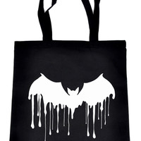 Melting Drip Vampire Bat Tote Book Bag Gothic Handbag