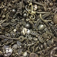 PEPERLONELY Brand 100PC Antiqued Bronze Alloy Assorted Beads Charms Chains Connectors Tibetan Style Findings