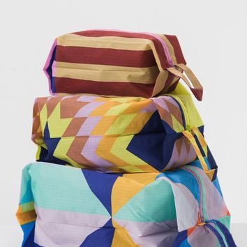 Quilt Pattern 3D Zipper Pouch Set by Baggu - PRE-ORDER, SHIPS IN AUGUST