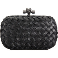 Bottega Veneta Intrecciato Fringe/Ayers Snakeskin Knot Clutch at Barneys.com