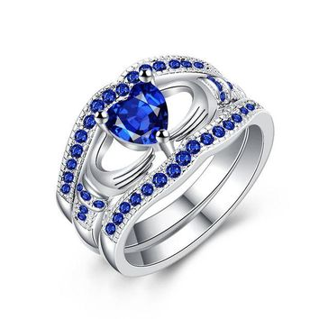 ac spbest YANGQI Three-in-one Blue Heart Zircon Ring for Women Wedding Party Engagement Rings Female Love Heart Ring Girls Jewelry Gifts