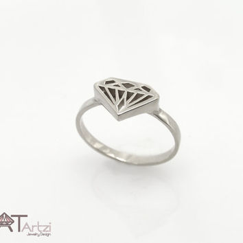 Diamond shaped gold signet ring, Diamond silhouette ring, Diamond shape ring, Diamond signet ring, Diamond ring, Gold diamond ring